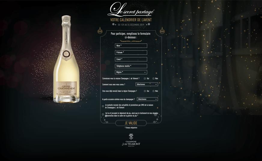 Champagne De Telmont Formulaire du jeu de Noël
