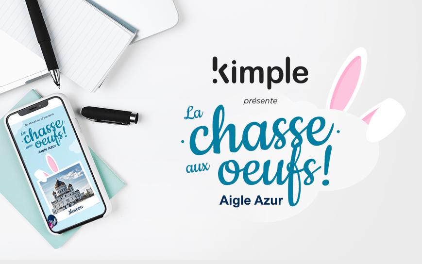 Mise en scène d'un bureau avec mise en avant des logos Kimple et Aigle Azur