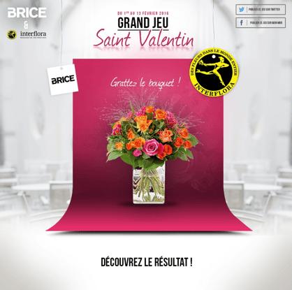Page d'accueil du jeu Kimple spécial Saint-Valentin pour Brice en partenariat avec Interflora, en jeu, un bouquet de fleurs à gagner